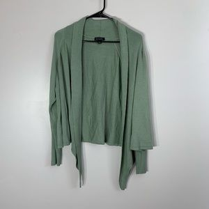 H by Halston Open Front Cardigan Sweater Green